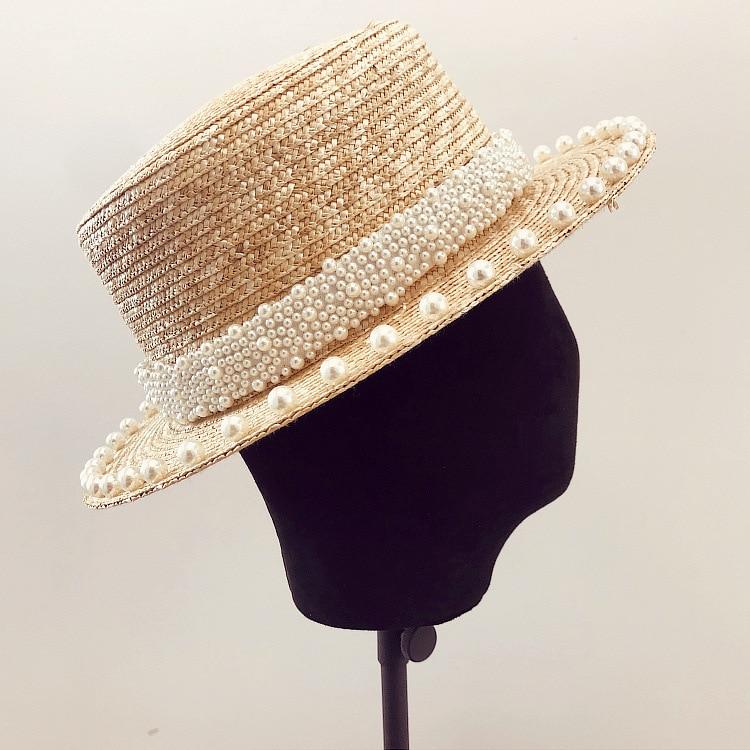 01906-xintao pearl  summer handmade straw lady  fedoras cap women  panama jazz hat