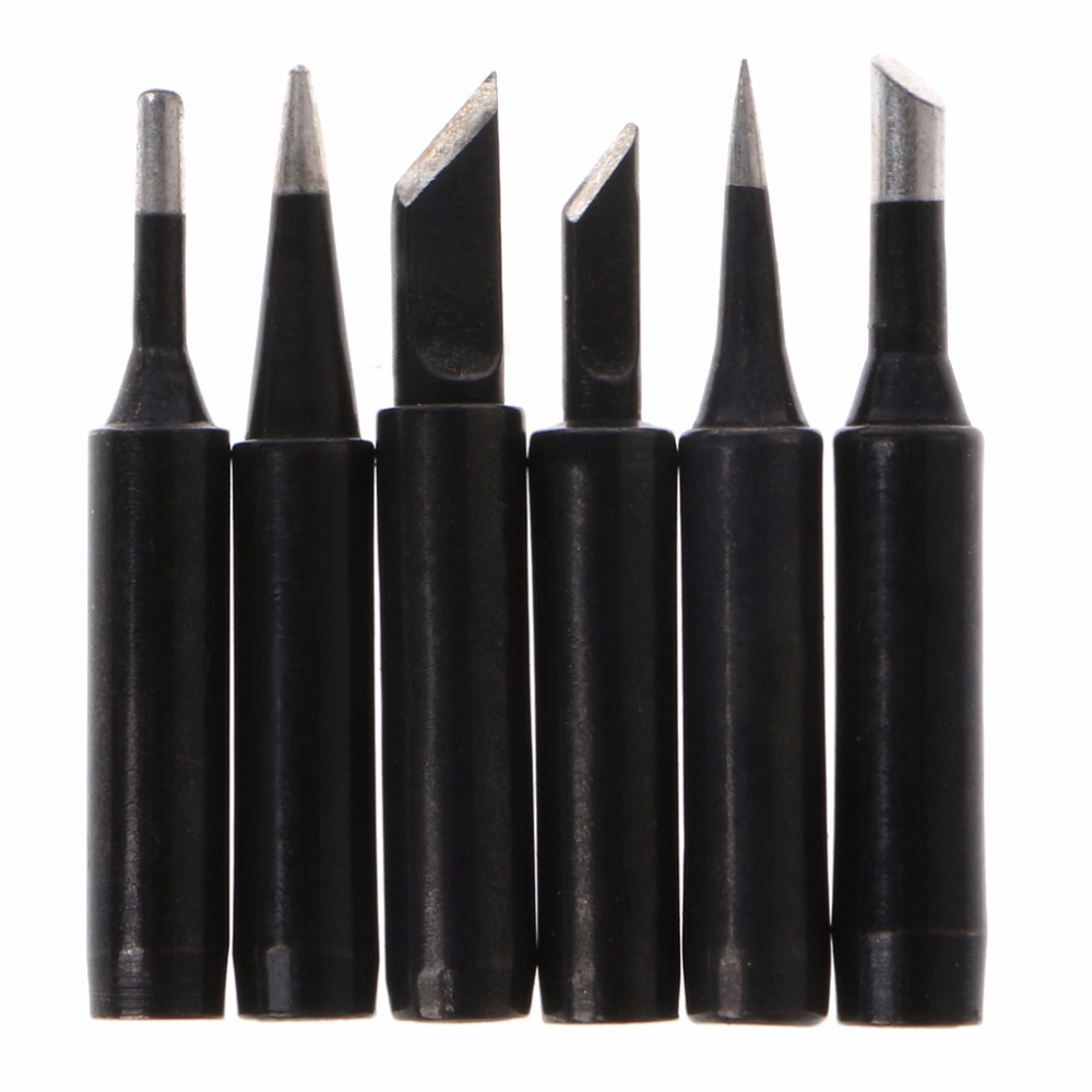 6 Pcs Black Lead-Free Solder Iron Tip 900M-T Iron Tips For Hakko Soldering Rework Station Tool Length: 40.5~42mm  #1A30941#