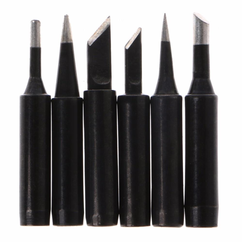 6 Pcs Black Lead-Free Solder Iron Tip 900M-T Iron Tips For Hakko Soldering Rework Station Tool Length: 40.5~42mm  #1A30941#