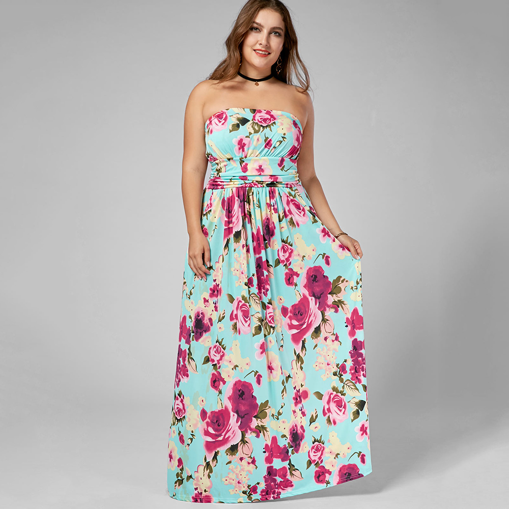 Gamiss Women Summer Casual Boho A-Line Party Dress Plus Size Strapless  Floor Length Floral ff35f4c3f96b