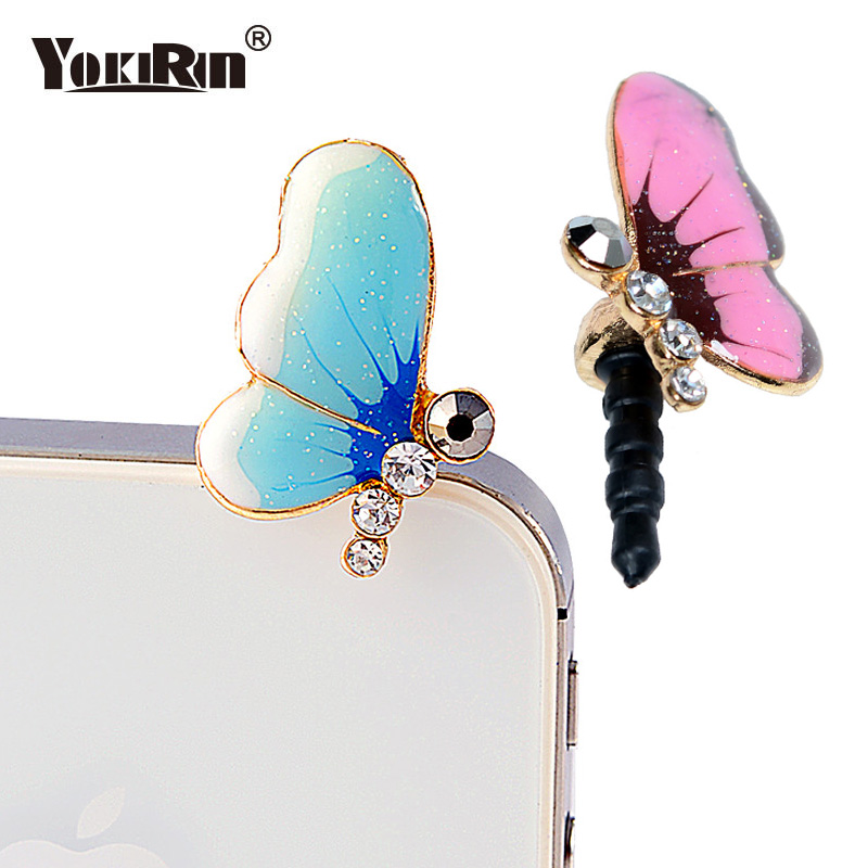 YOKIRIN Colorful Drop Oil Butterfly Design Mobile Phone Ear Cap Dust Plug For iPhone Samsung Xiaomi And All Earphone Dust Plug