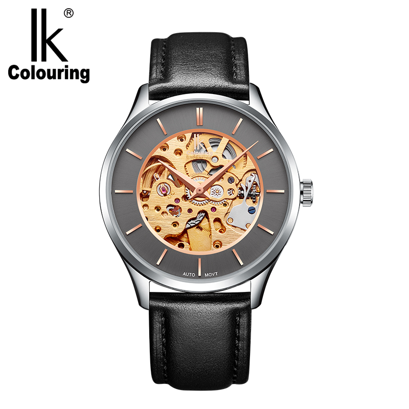 IK Colouring Male Clock 2018 Stainless Steel 5ATM Water Resistant Men's Auto Mechanical Wrist Watch Skeleton Herren Armbanduhr все цены