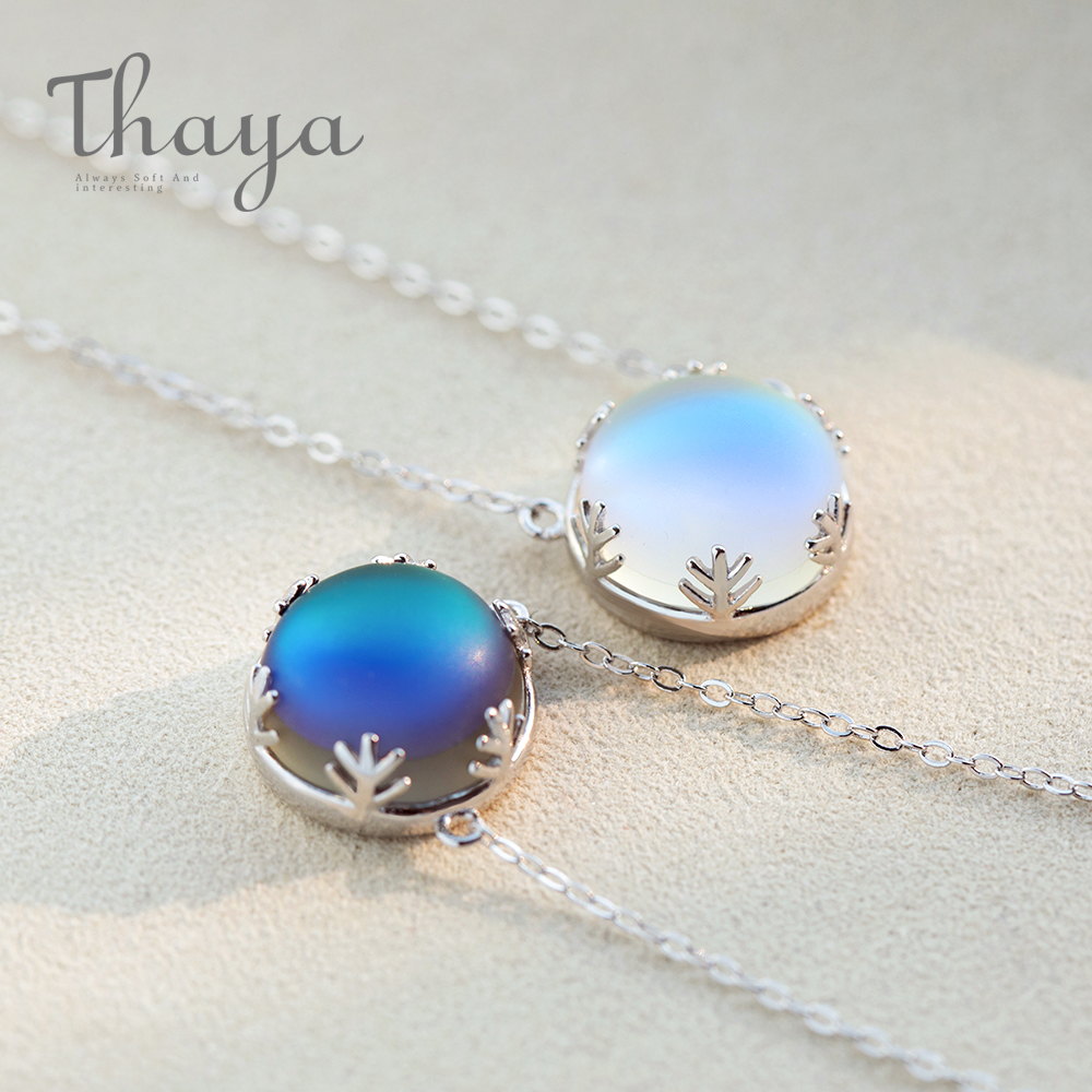 Thaya Aurora Necklace Halo Crystal Gemstone s925 Silver Scale Light Forest Women Pendant Necklace Elegant fashion Grils Jewelry(China)
