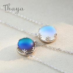 Тайя Аврора Цепочки и ожерелья Halo кристалл драгоценный камень s925 серебряная шкала светлый лес Для женщин кулон, ожерелье, элегантные