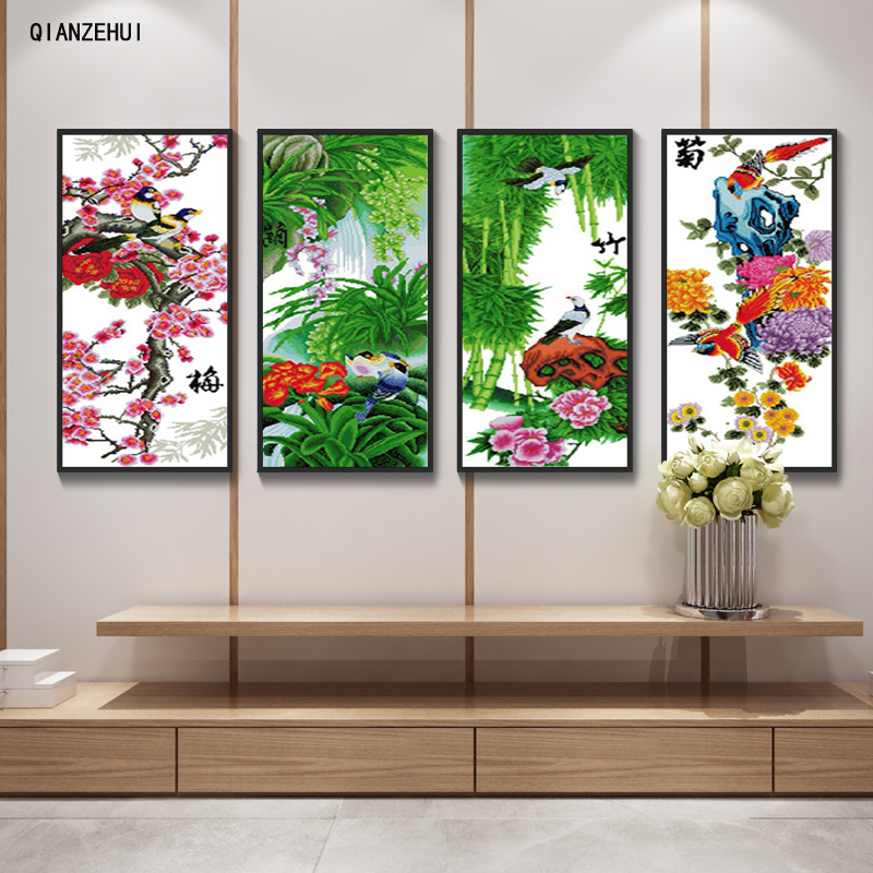 QIANZEHUI,Needlework,DIY Seasonal views plum ,orchid,bamboo ,chrysanthemu, Cross stitch,Sets For Embroidery kits Cross-Stitching