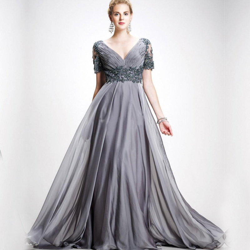 2015 Charming Chiffon gray chiffon appliques long mother dresses Short Sleeves silver gown Custom Made Mother Of The Groom Dress