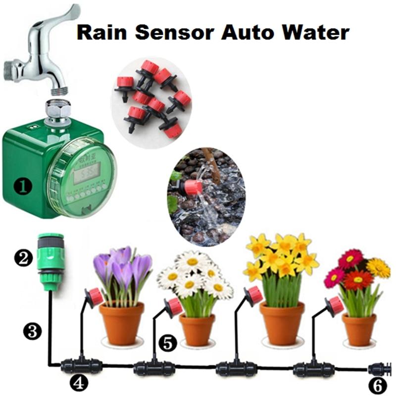 New Garden Flower Irrigation System Rain Sensor Auto Water Timer Drip and Sprinkling Watering Kit 10m