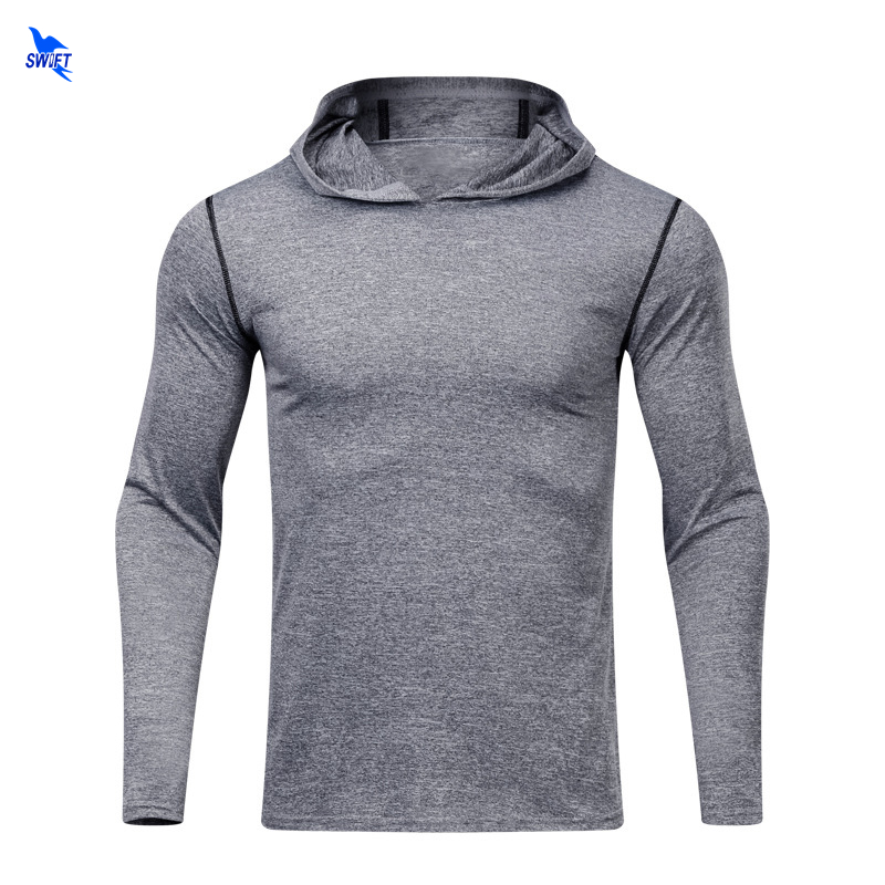 817502de New Mens Quick Dry Cap Hoodies Hooded Sweatshirt Sports Elastic Fitness  Tight Shirt Gyms Bodybuilding Running Pullover Jackets-in Running Jackets  from ...