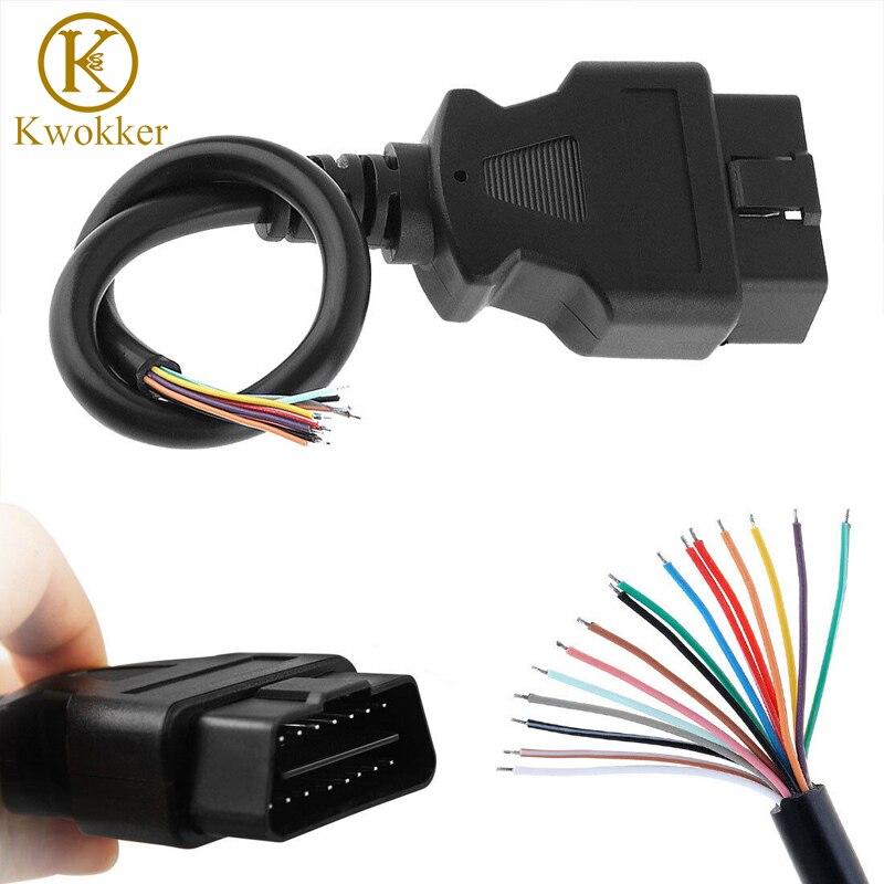 30CM/1.5M OBD2 II 16 Pin Male Extension Connector To Open Plug Wire Diagnostic Cable OBD 2 Cable Extension Core