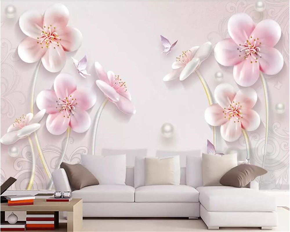 beibehang Custom size 3D three-dimensional embossed plum modern minimalist European TV background wall painting wallpaper