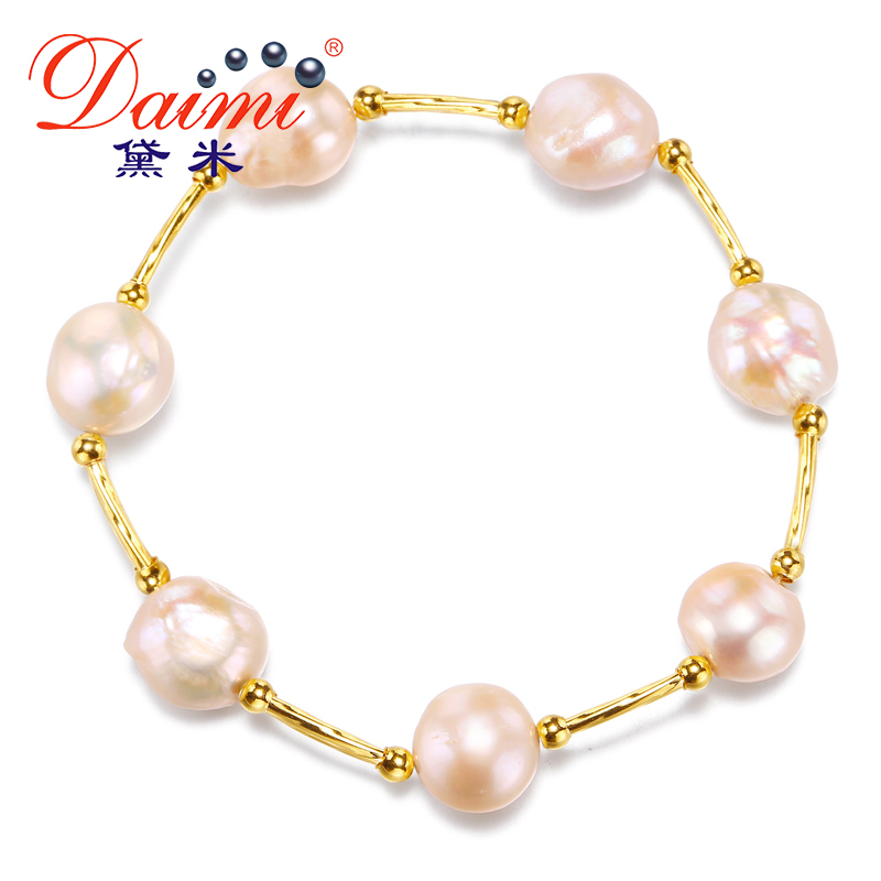 DAIMI Baroque Pearl Bracelet Natural Freshwater Pearl Elastic Bracelet 10-11mm Big Baroque Pearl For Women steve j