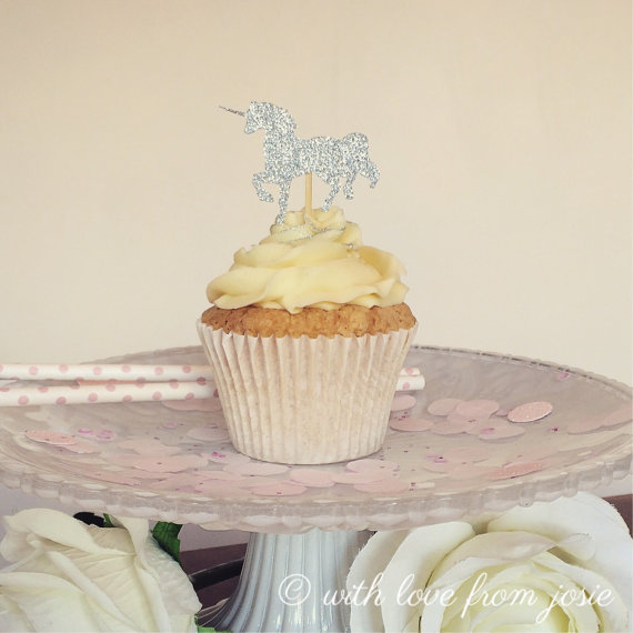 Unicorn Glitter Cupcake Toppers Appetizer Food Pick Party Baby