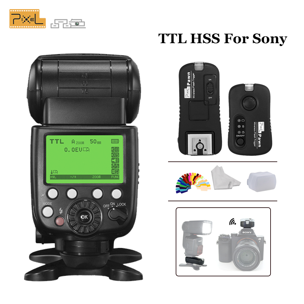 Pixel X800S X800 Standard TTL HSS GN60 Camera Flash For Sony A7 A7R RX1 A6000 & TF-365 Wireless Flash Trigger Yongnuo YN600EX