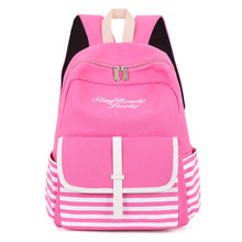 Fashion Female Striped Backpacks Girls Leisure Schoolbags Mochila Escolar Capacity Laptop Backpack Satchel Rucksack Sac Enfant