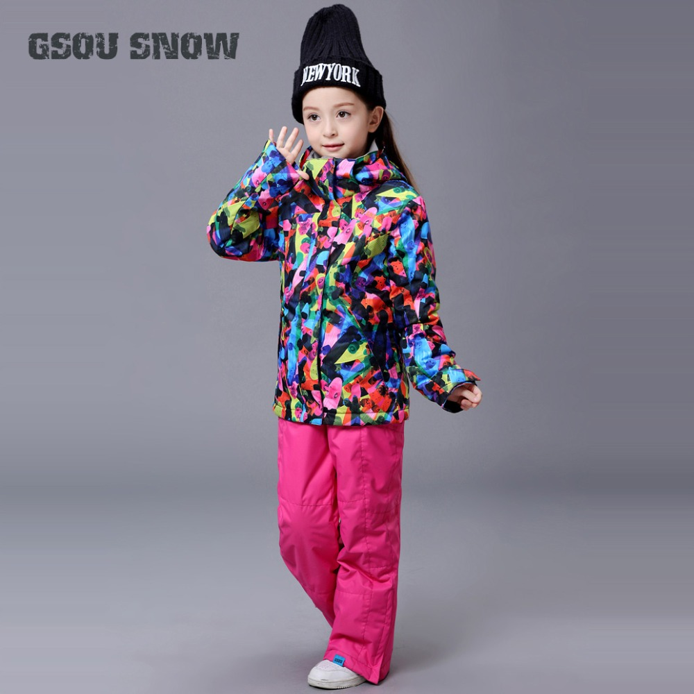 GSOU SNOW Girls Ski Suit Snowboard Jacket Pant Windproof Waterproof Outdoor Sport Wear Kids Children Skiing Clothing Pant Suit vector warm winter ski jacket girls windproof waterproof children skiing snowboard jackets outdoor child snow coats kids