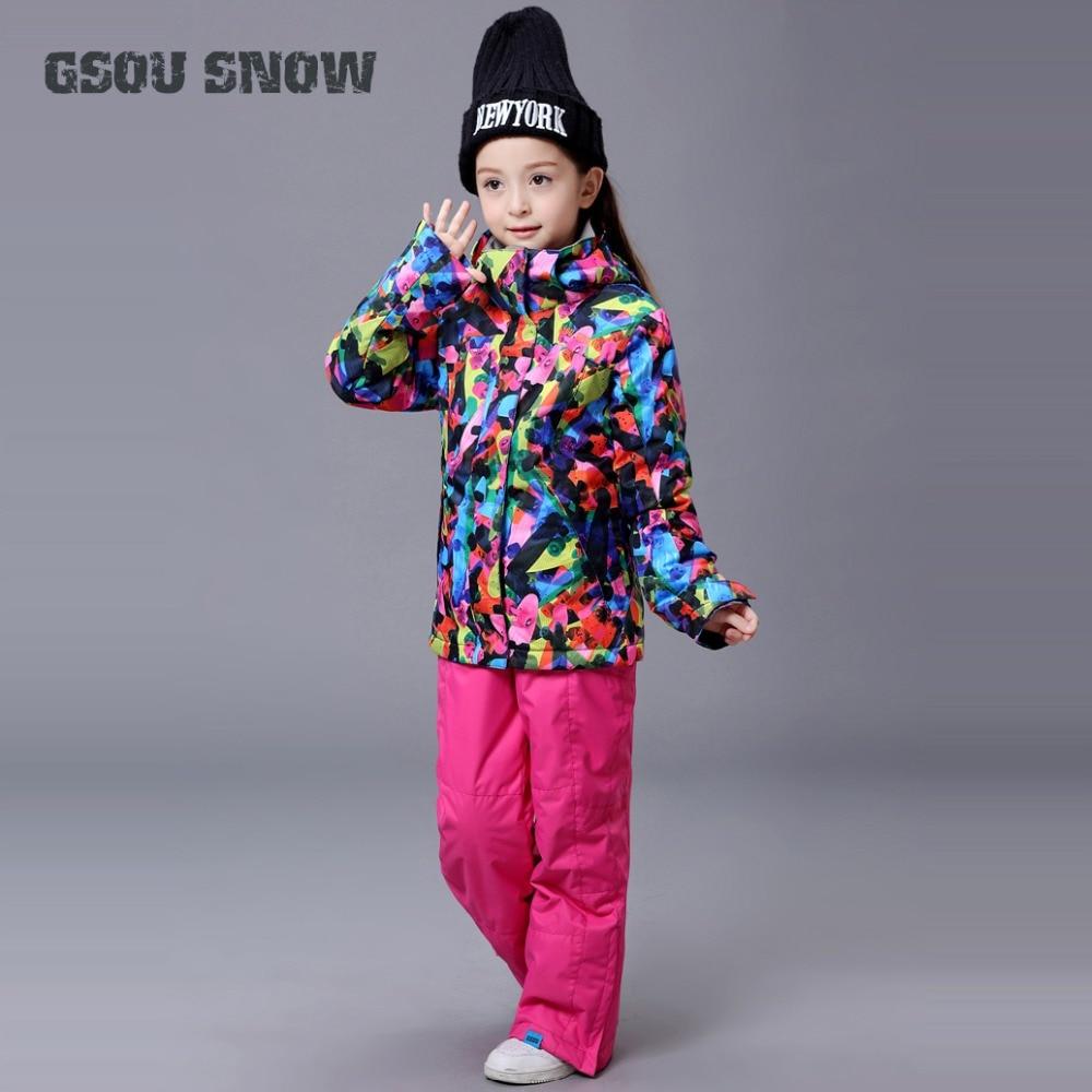 GSOU neige filles Ski costume Snowboard veste pantalon coupe-vent imperméable à l'eau en plein air Sport porter enfants enfants Ski vêtements pantalon costume