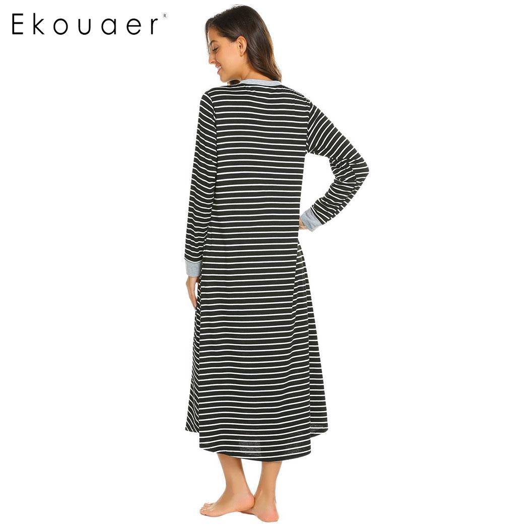Ekouaer Women Long Nightdress Chemise Nightgown Casua Long l Sleeve V  Neck Stripe Sleepwear Nightgown Female Sleepshirts
