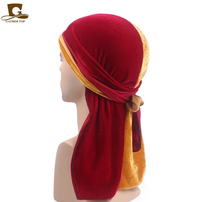 Baru Merenggang pria Beludru Durags Turban Bandana Topi Wig Setengah - Aksesori pakaian - Foto 5
