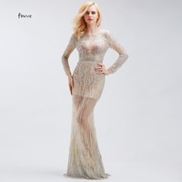 Vestidos Longos 2016 Luxury Crystal Beading Long Sleeve Mermaid Formal Evening Gowns Dresses Robe De Soiree
