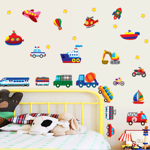 Image 4 - 크리 에이 티브 자동차 비행기 만화 차량 벽 스티커 어린이 방 유치원 장식 스티커 diy 벽 스티커