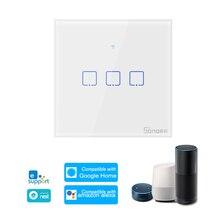 SONOFF T0EU3C TX 3 Gang akıllı WiFi duvar işık anahtarı APP/dokunmatik kontrol zamanlayıcısı ile uyumlu Google ev Alexa ab panel