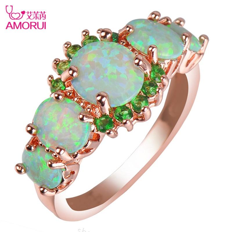 AMORUI Trendy Grün AAA Zirkon Opal Hochzeit Ringe Für Frauen Rose Gold Mai Birthstone Ring Frauen Schmuck Geschenk Dropshipping
