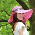 Мода Шляпа Солнца Женские Летние Складные Соломенные Шляпы Выдалбливать Шапки Для Женщин Пляж Головные Уборы Бантом Ленты