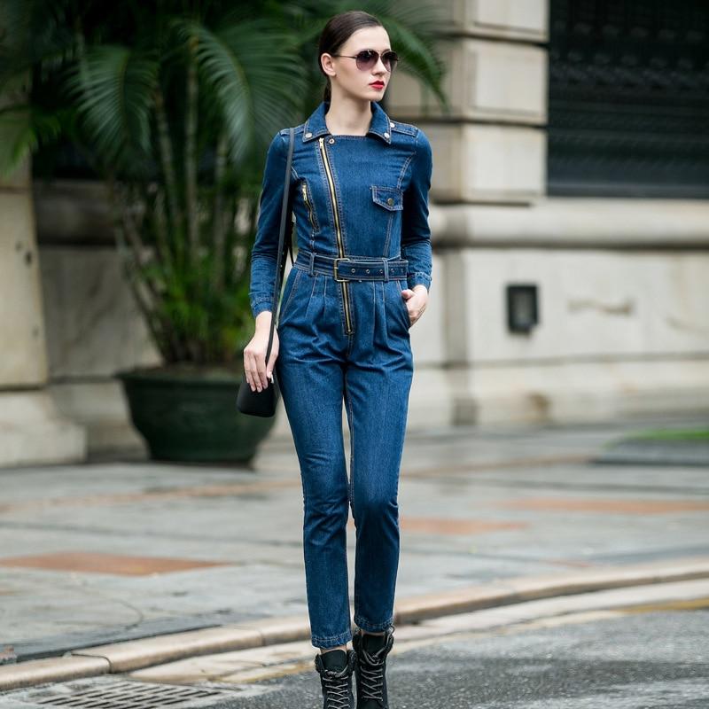 Denim Jumpsuit Women 2020 Hight Waist Front Zipper Denim Overalls Playsuits Female Long Sleeve Turn-down Collar Jeans Rompers