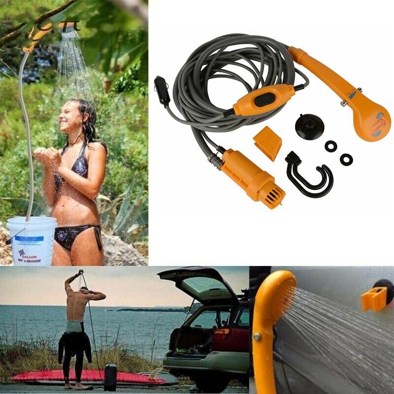 2M Portable Car Shower Set12V Water Pump For Outdoor Camping Travel Pet Universal Car Shower Pump Pipe Kit Hook