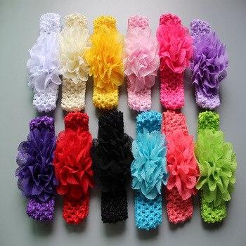 Promotion 10pcs lot Chiffon Lace Flower Crochet Headband kids Girls Dress Up Head band 12 color