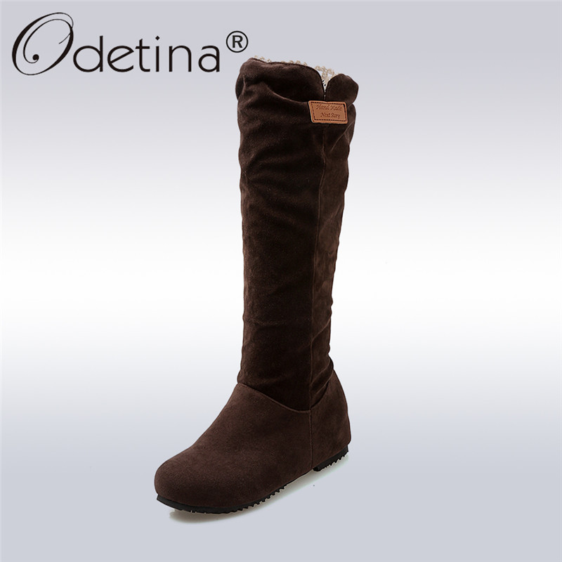 Odetina 2017 Casual Faux Suede Womens Slouch Boots Flat Hidden Heel  Knee High Boots Pleated Autumn Winter Shoes Big Size 34-49