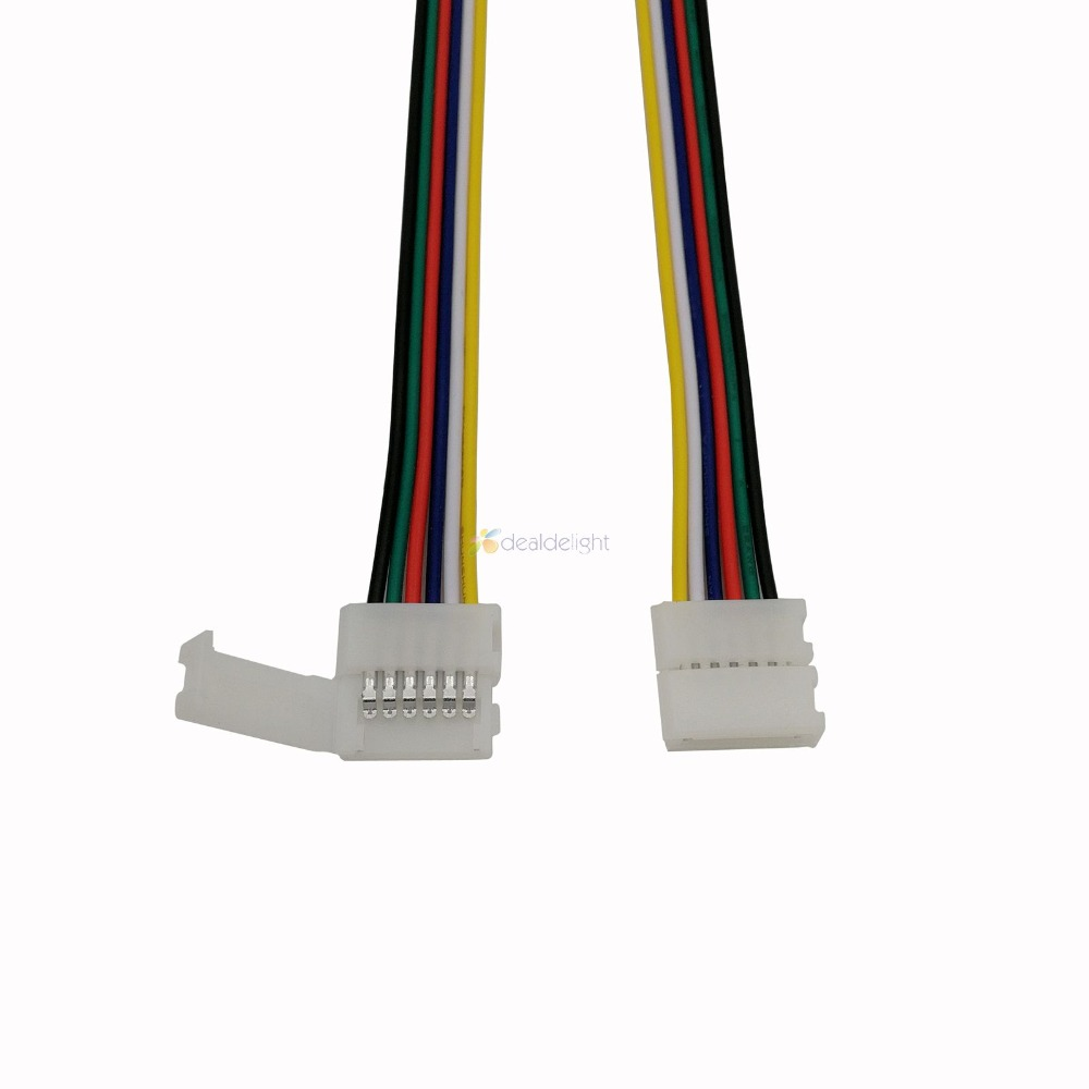 10pcs 6pin 12mm Width Solderless LED Connector Adapter With 15cm Long Wire For 12mm PCB RGB+CCT Led Strip 1 Or 2 Clips