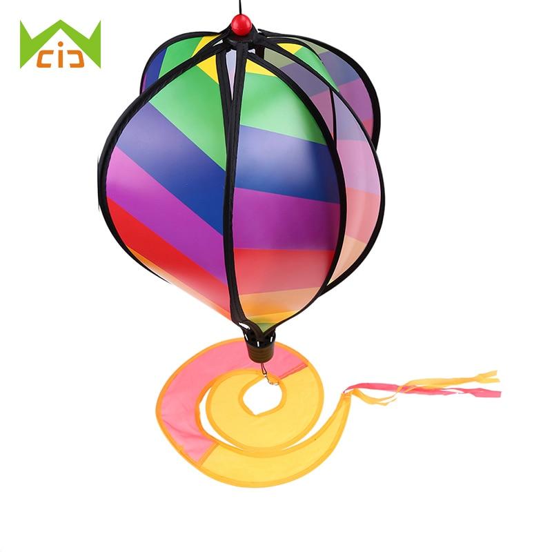 "WCIC 55"" Rainbow Wind Spinner Beach Kites Hot Air Balloon Rainbow Windsock Yard Outdoor Garden Decor Wih Tail"