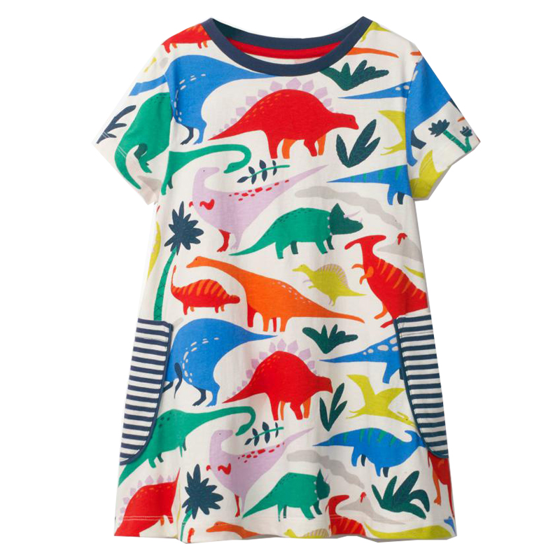 Jumping Meters Baby Girls Clothes Princess Dress 2018 Brand Girls Summer Dress Children Vestidos Tunic Animal Kids Party Dresses