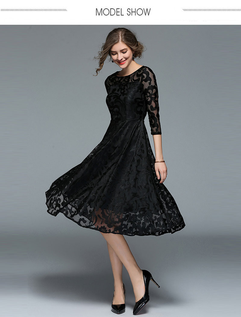 Borisovich New 18 Spring Fashion England Style Luxury Elegant Slim Ladies Party Dress Women Casual Lace Dresses Vestidos M107 4