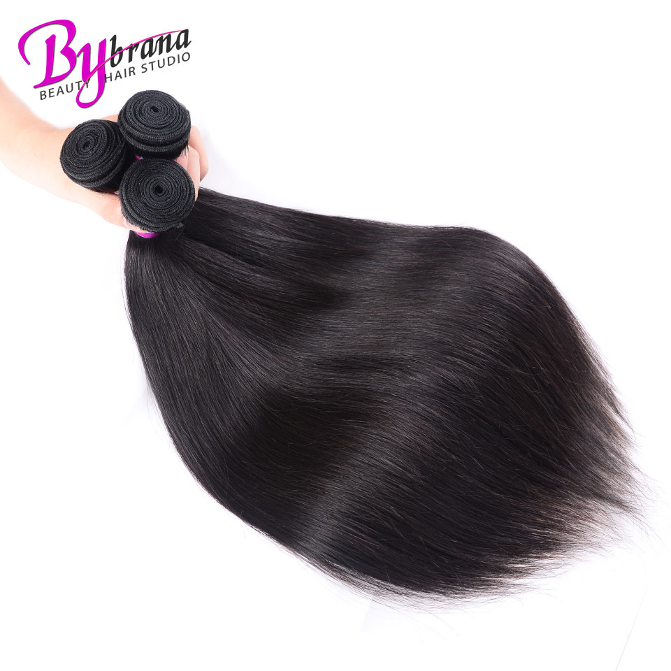Indian Straight Hair Bundles With Frontal Natural Color Human Hair 18Inches Lace Frontal With Straight Bundles 22 24 26 Bybrana 336