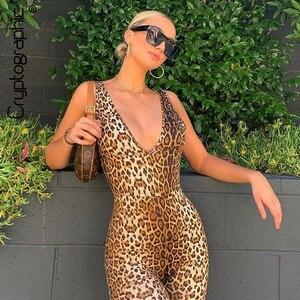 التشفير مثير العميق الخامس الرقبة أكمام ليوبارد ثوب فضفاض للمرأة بذلة قصيرة الصيف الشارع الشهير Playsuit الأزياء الجسم Feminino