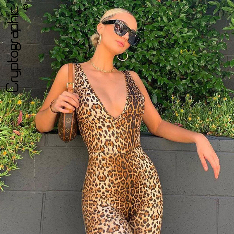 Cryptographic Sexy Deep V Neck Sleeveless Leopard Rompers Womens Jumpsuit Short Summer Streetwear Playsuit Fashion Body Feminino