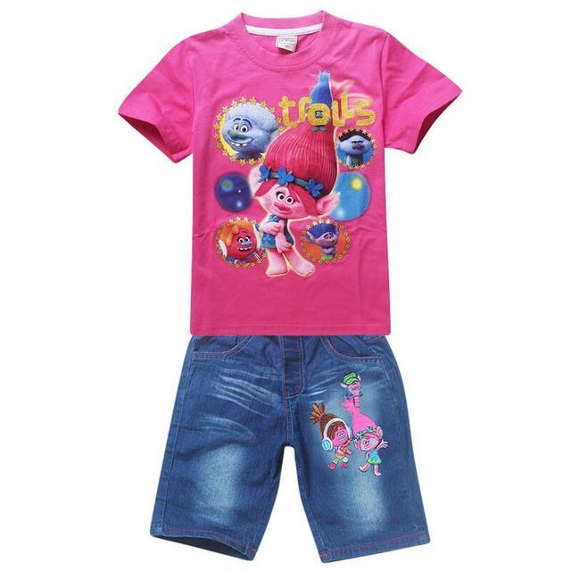 New Girls Trolls Juegos de Ropa de Verano de Dibujos Animados Ropa de Algodón Set For Girls Shirt + Jeans 2 Unidades Traje Ropa de Los Niños