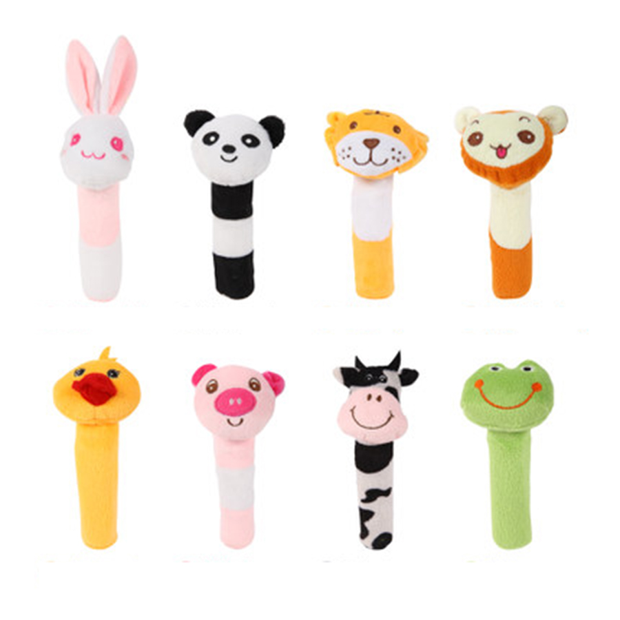 Cartoon Baby Rattles Stroller Hand Bell Baby Speelgoed 0-12 Months Educational Toys For Newborns Plush Toy Animal Rattle 70C0519