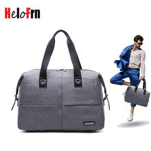 HeloFrn Business Travel Bags Men Canvas Carry On Luggage Bags Waterproof Men Duffel Bag Weekend Travel Tote Black Gray Handbag