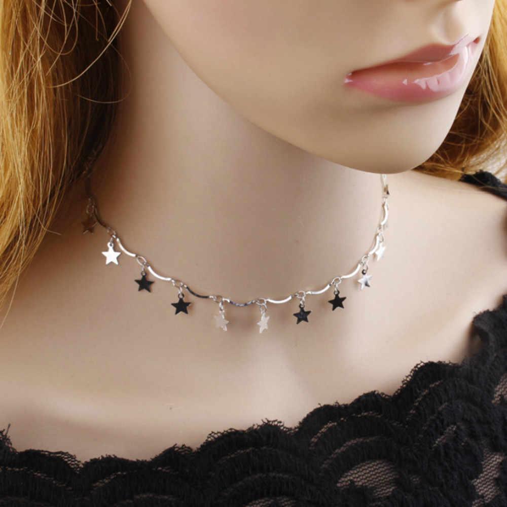 Stilvolle Wilde Halskette Boho Kleidung Zubehör Halskette Trendy Schmuck Halsreif Boho Gold Farbe Kette Winzige Sterne Maxi Silber L0325