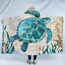 Skull Pattern 3D Printed Plush Hooded Blanket for Beds Warm Wearable Soft Fleece Throw Blankets Ocean Animal Cloak
