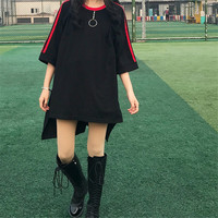 2018 Korea Ulzzang Women Long T Shirts Japanese Harajuku Fashion Retro Split Female T Shirt Gothic