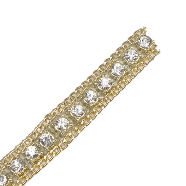 Noble gold rhinestones crystal beaded venise decorative trim steampunk Iron on applique aviamentos sewing clothes bead lace