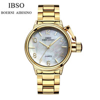 IBSO Top Quality Womens Watches Waterproof Quartz Watch with White MOP Dial S8109L