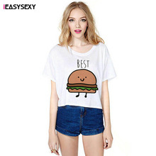 iEASYSEXY Best Friends Hamburger French Fries Printed Casual Top Crops Women O-Neck Short Sleeve Cartoon Painting Summer T Shirt