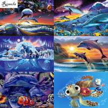 5D DIY diamond paintings dolphin full square/round drill Embroidery Pattern 3D Cross stitch kits mosaic wall stickers(China)