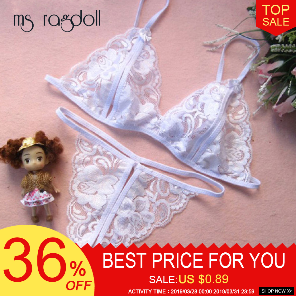 Ladies Erotic Open Bra Sexy Lingerie Set Crotchless Sexy Bra+Thong Free Size Lingerie Erotic Costumes For Women Bikinie