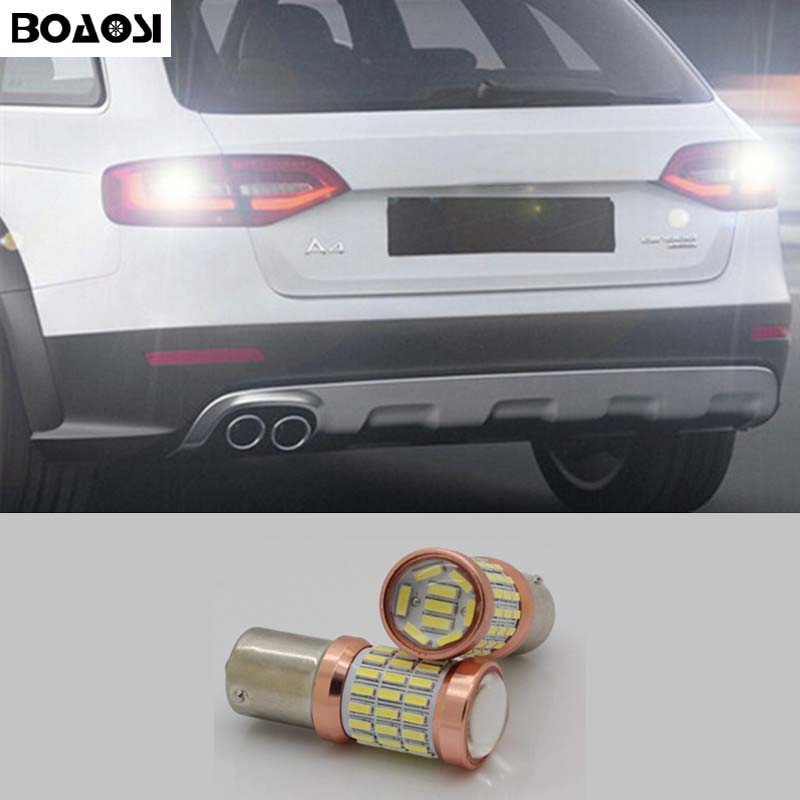 BOAOSI 1x High Power P21W BA15S 4014SMD LED Canbus no error backup reverse light lamp For AUDI S3 A4 S4 RS4 A6 RS6 2pcs brand new high quality superb error free 5050 smd 360 degrees led backup reverse light bulbs t15 for jeep grand cherokee